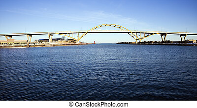 vue, lac, lointain, autoroute, pont