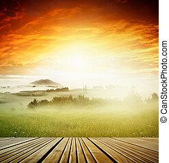 vue, levers de soleil, pont