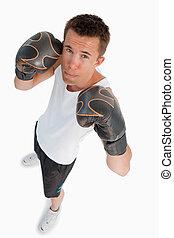 vue, mâle, boxeur, haut angle