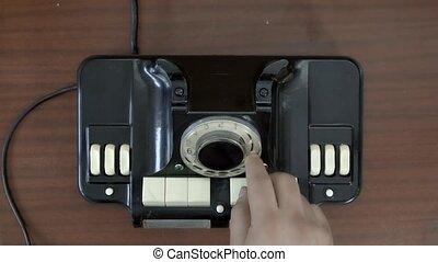 vue., main, vieux, communication, très, rotatif, rotation, vendange, sommet, téléphone., technologies, disque, telephone.
