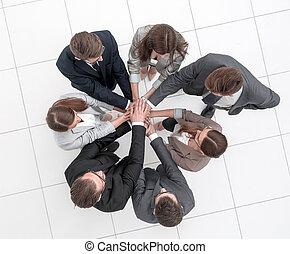 vue., mains, business, ensemble, équipe, sommet, joindre