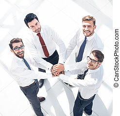 vue., mains, leur, business, ensemble, équipe, mettre, sommet