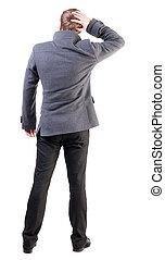 vue, manteau, pensée, dos, homme, business