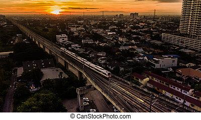 vue, matin, train, aérien, temps, électrique