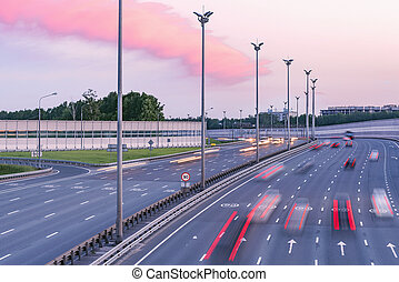 vue, moderne, coucher soleil, autoroute, time.