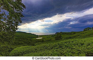 vue, morose, lac, soleil, image, rayons, atmosphérique, nuages