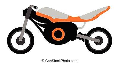 vue, motocyclette course, côté