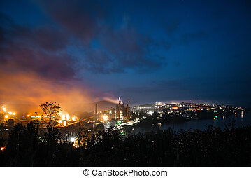 vue, nuit, industriel, plant., géant