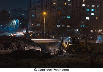 vue, nuit, works., construction urbaine