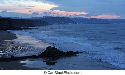 vue., océan, crépuscule, côte