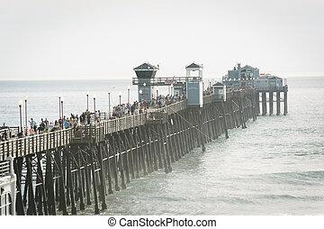 vue, oceanside, jetée, california.