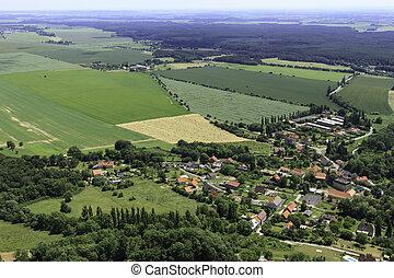 vue, oeil, oiseaux, village