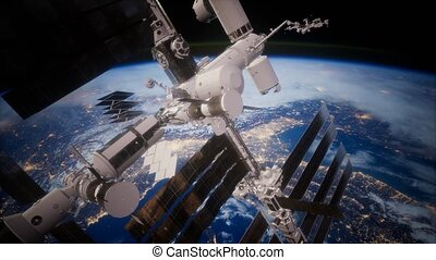 vue, orbiter, la terre, iss, spaceship.