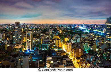 vue panoramique, aires, buenos, nuit