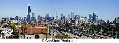 vue panoramique, de, chicago, depuis, sud