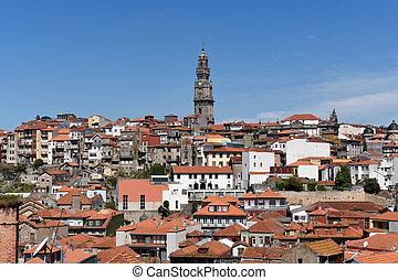 vue, panoramique, portugal, porto, église, clerigos