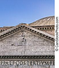vue, panthéon rome, italie, extérieur