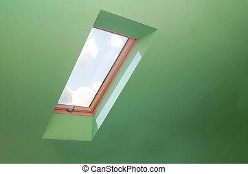vue, par, les, fenêtre.