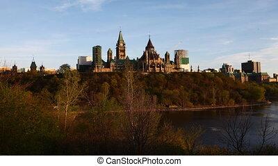 vue, parlement, canada's, colline, timelapse