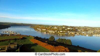 vue, paysage, rivière, aérien, 4k