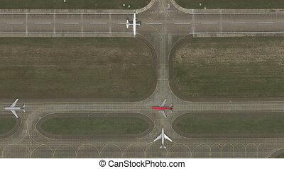 vue, piste, sommet, avions