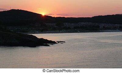 vue., plage, bulgarie, coucher soleil