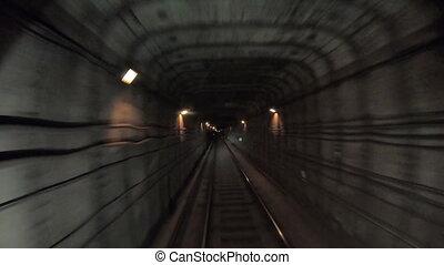 vue, point, city., cabin., concept, train, timelapse, ferroviaire, commute., métro, en mouvement, temps, jeûne, tunnel, vitesse, pov, équitation, light., souterrain, défaillance, moderne, vers