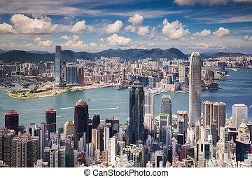vue, point, hongkong, ville, et, ville kowloon, depuis, les, sommet, de, victoria peak