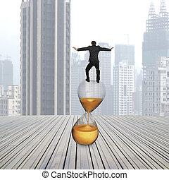 vue postérieure, de, homme affaires, équilibrage, sur,...