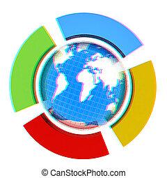 vue, quatre, red/cyan, la terre, lunettes, 3d, anaglyph., 3d., semi-circle., button., illustration., voir
