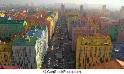 vue, résidentiel, maisons, secteur, aérien, coloré