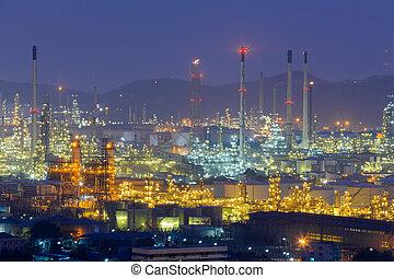vue, raffinerie, huile, aérien