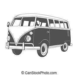 vue., retro, voyage, bus., côté