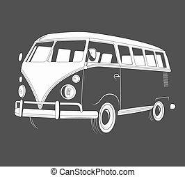 vue., retro, voyage, bus., icône, côté