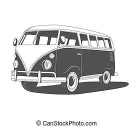vue., retro, voyage, shadow., côté, autobus