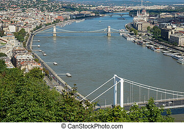 vue, rivière, budapest, danube