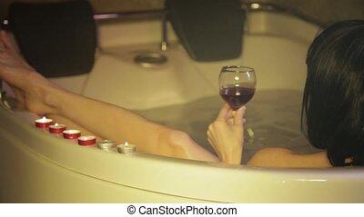 vue, rouges, jeune, boire, femme, bain, vin, joli,...