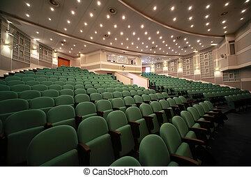 vue, salle, arrangement, côté, enregistrement, murs, conférence, sièges, vert