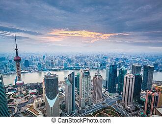 vue,  Shanghai, aérien, crépuscule