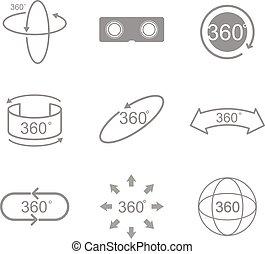 vue, signe, degrés, 360, icône