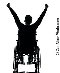 vue, silhouette, bras haussés, fauteuil roulant, handicapé, homme, arrière
