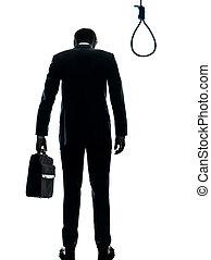 vue, silhouette, corde à piquet, une, fond, isolé, homme, devant, blanc, debout, business, studio, caucasien, hangman's, arrière