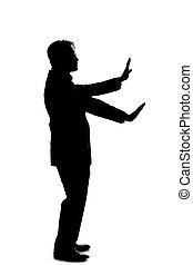 vue, silhouette, homme affaires, geste, côté, mains, arrêt, ...