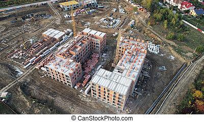 vue., sommet, construction bâtiments