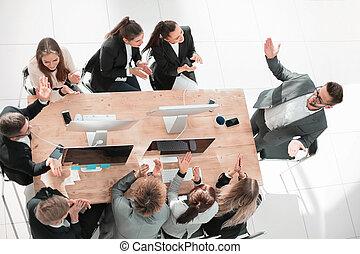 vue., sommet, réunion affaires, travail équipe, applaudir