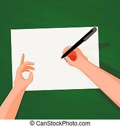 vue, sommet table, mains, écriture