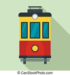 vue, style, devant, icône, tram, plat