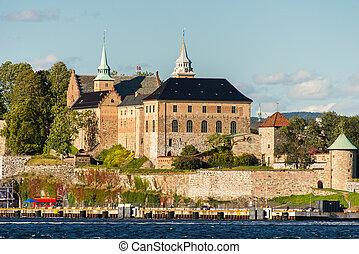 vue, sur, oslo, fjord, port, et, akershus forteresse, oslo, norvège
