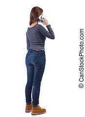 vue, téléphone., dos, femme parler