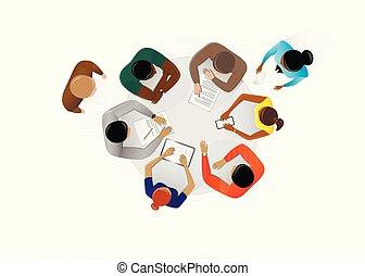 vue, table, illustration, discuter, fond, vecteur, sommet, plan, business, blanc, gens bureau, séance, horizontal